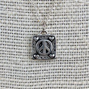 Jewelry - 925 Sterling Silver Peace Sign Heart Box Pendant